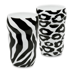 Konitz - Set of 2 Double-Walled Grip Mugs Zebra and Leopard - Release your inner wild side with these animal print mugs. Features black-and-white leopard and zebra designs. The Grip Mug is double-walled, keeping the beverage inside hot and your hand comfortably cool. Ergonomic shape fits your hand perfectly without a handle.