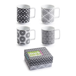 Rosanna - Rosanna Stockholm Mugs, Set of 4 - Inspired by the bold Scandinavian graphics of the 1960's, this Stockholm set of four mugs from Rosanna are stackable and made of porcelain. The set includes four assorted designs.