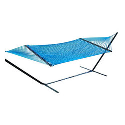 Classic Caribbean Style Light Blue Rope Hammock w/ Wood Spreaders - Caribbean Rope Hammocks are the classic hammock style. This beautiful light blue Caribbean rope hammock is hand woven from soft spun polyester. Unlike similar cotton rope hammocks, it will not rot, mold or mildew. 8mm triple ply rope is used for extra durability. The hardwood spreader bars have multiple coats of marine varnish to protect them from the elements and is a full 55 inches wide giving plenty of room for 2 adults. This hammock is easy to hang from any 2 points 12ft or more apart. NOTE: It does not come with stand or mounting hardware.