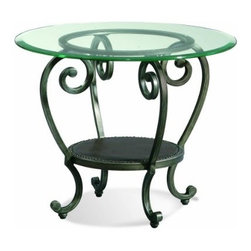 "Basett Mirror - Dauphine Round End Table - The Dauphine Round End Table (Pewter Finish) has the following features: Manufactured by Bassett Mirror Part of the Dauphine Collection Made of iron and glass in a pewter finish One of our transitional-styled end tables that will work in almost any living room Dimensions: 28"" x 28"" x 22""H. Weight: 16 lbs."
