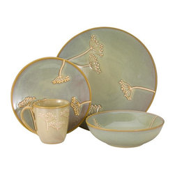 Godinger Silver - Godinger Set of 16 Celadon Stoneware Dinnerware Set - From Godinger Silver comes this durable dinnerware and dishes set designed for convenience and beauty from the oven to table. The Celadon 16 Piece Dinnerware Set is the perfect backdrop to make your food look good, thereby tasting good! The Stoneware Dinnerware Set is Service Set for Four and includes 4 Dinner Plates, 4 Salad Plates, 4 Soup bowls and 4 Mugs.