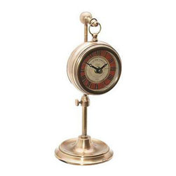 UTTERMOST - Pocket Watch Thuret Table Clock - This Timeworks clock add a new dimension to timekeeping. Telescoping table clock reproduced from English workbench clocks. The telescoping feature allowed the craftsman to keep the clock out of the way of whatever else was on his work space.