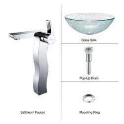 Kraus - Kraus C-GV-500-12mm-14600CH Broken Glass Vessel Sink and Sonus Faucet - Add a touch of elegance to your bathroom with a glass sink combo from Kraus