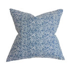 """The Pillow Collection - Edythe Zigzag Pillow Blue - Surround your home with this fancy throw pillow. This square pillow features a unique print in white on a navy blue background. This accent pillow creates a relaxing vibe with its plushness. Adorn your sofa, bed or couch with this decor pillow. Mix and match this 18"""" pillow with solids and other patterns for a unique look. Hidden zipper closure for easy cover removal.  Knife edge finish on all four sides.  Reversible pillow with the same fabric on the back side.  Spot cleaning suggested."""
