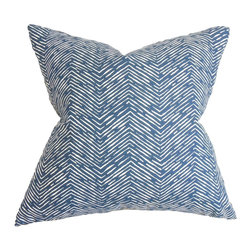 "The Pillow Collection - Edythe Zigzag Pillow Blue 18"" x 18"" - Surround your home with this fancy throw pillow. This square pillow features a unique print in white on a navy blue background. This accent pillow creates a relaxing vibe with its plushness. Adorn your sofa, bed or couch with this decor pillow. Mix and match this 18"" pillow with solids and other patterns for a unique look. Hidden zipper closure for easy cover removal.  Knife edge finish on all four sides.  Reversible pillow with the same fabric on the back side.  Spot cleaning suggested."