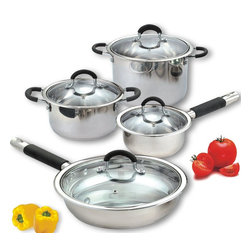 Cook N Home - Cook N Home 8 Piece Stainless Cookware Set Encapsulated Bottom, NC-00261 - Cook N Home brand 8 piece stainless steel cookware set includes 1 Quart sauce pan with lid; 3 Quart casserole with lid; 6 Quart stockpot with lid; 10 inch fry pan with lid.
