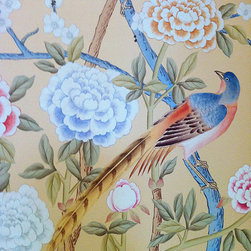 Griffin and Wong Chinoiserie Handpainted wallpaper - Chinoiserie wallpaper panels worked to a framed Old World background