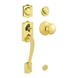 "Schlage - Camelot Handleset w Plymouth Interior Knob in - Manufacturer SKU: F93 CAM 505 PLY 605. Handle Type: Handleset. Dummy function includes a handleset grip, interrior knob or lever and non-functioning deadbolt; does not lock. Patented adjustable through-bolt allows easy installation; retrofits existing doors. Universal knob works for right or left handed doors. Limited Lifetime Mechanical and Finish Warranty. Coordinate with other Plymouth Bright Brass products. High quality materials and construction used for a longer life and brilliant finish. Designed for standard door prep (fits existing pre-drilled holes). Universal latch adjusts to fit 2-3/8"" or 2-3/4"". Fits 1-3/8"" to 1-3/4"" wood or metal doors. Finish:  Bright Brass. 2.9 in. L x 3 in. W x 12.9 in. H (5.2 lbs)"