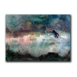 """Flying High 9x12 Print - """"Flying High"""" is a whimsicle fishing canvas giclee by Cheri Greer.  This 9x12 canvas is gallery wrapped. We take the fine art canvas and stretch it over a wooden frame, adhering the canvas to the backside of the frame. The canvas actually wraps around the edges of the frame, giving your print the look of a fine piece of art, such as you might find in an art gallery. There is no need for a picture frame. Your piece of art is ready to hang or lean against a wall, or display on an easel."""