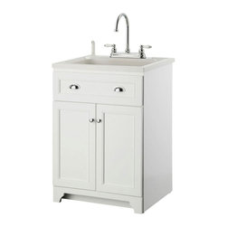 ... door cabinet to provide ample storage space. The ABS sink has a