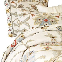 Crewel Fabric World - Oushak Multi Cotton Duck Crewel Queen Coverlet - Artisans in a remote mountain village in Kashmir crewel stitch these blossoms, vines and leaves by hand, resulting in a lush pattern of richly shaded wool yarns on Linen, Cotton, Velvet and Silk.