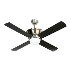 Craftmade - Kira Ceiling Fan with Light - Kira Ceiling Fan with Light comes in Oiled Bronze Mahogany and Stainless Steel with Black blades and is perfect for any decor with it's modern lines and striking finishes. Features a 153 x 15 motor,  12 degree blade pitch, Airflow of 5552 cubic feet per minute, 58 watts of electricity usage, and an airflow efficiency of 95.  A TCS  remote control and one 50 watt, 120 volt T4 type Minican base halogen bulb is included. 30 year limited warranty. UL listed. 52 inch width x 15.98 inch height.