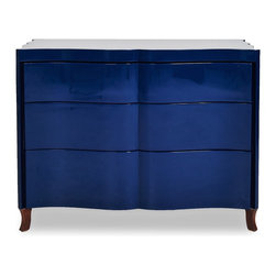 ReevesDesign Indigo Victoria Chest - The glossy finish helps bring out the richness in the indigo hue on this classic chest of drawers.