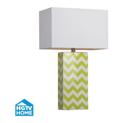 Joshua Marshal - One Light Citrus Green/white Chevron White Faux Silk Shade Table Lamp - One Light Citrus Green/white Chevron White Faux Silk Shade Table Lamp