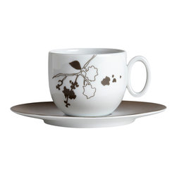 Deshoulieres - Hana Tea Cup and Saucer - This floral design invites you to immerse in a Japanese garden with blooming cherry blossoms. Take a sweet, dreamy voyage to the heart of Asia with this cup and saucer.