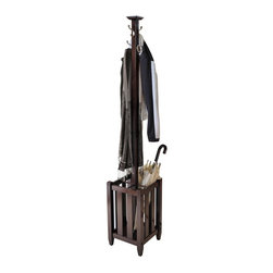 Winsome Wood - 71.52 in. Umbrella Rack in Cappuccino Finish - Four double hooks. Storage rack. Metal hooks. Made from solid and composite wood. Assembly required. Storage: 5 in. L x 5 in. W x 17 in. H. Overall: 12.91 in. L x 12.91 in. W x 71.52 in. HPerfect for your front entry way to greet your coats, umbrellas or hats.