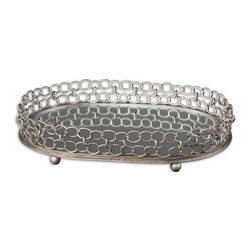 Uttermost - Lieven Mirrored Decorative Tray - Mirrored tray with heavily antiqued, silver champagne metal details.