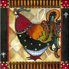 The Tile Mural Store (USA) - Tile Mural - Tuscan Rooster IV  - Kitchen Backsplash Ideas - This beautiful artwork by Jennifer Garant has been digitally reproduced for tiles and depicts a whimsical rooster.    Rooster tile murals and decorative tiles with roosters are the perfect addition to your kitchen backsplash tile project. You can't go wrong with any of our decorative rooster tiles - each one is beautiful and will certainly add interest to your kitchen wall tile. Tile murals of roosters are timeless and will never go out of style. Add something unique to your kitchen backsplash behind your stove or sink.