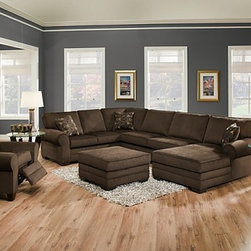 Simmons Upholstery - Deluxe 4 Piece Sofa Set - 8061-SLCO - Set includes Sofa, Loveseat, Chaise  and Ottoman