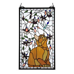 Meyda Tiffany - Meyda Tiffany Kitten & Dragonfly Stained Glass Tiffany Window X-68147 - An orange kitten gazes on with curiosity at the buzzing dragonflies overhead on this Meyda Tiffany stained glass Tiffany window. From the Kitten & Dragonfly Collection, this charming and whimsical design features soft shades and colorful hues that accentuate the dragonflies and other details.