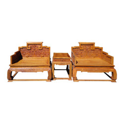 """Golden Lotus - Chinese HuaLi Rosewood Dragon Carving Armchair Set/3 Pieces - This is Chinese """"King Dragon"""" arm chair set which is made of HuangHuaLi is also called Yellow rose wood.  The chair and table have very detail dragons carving around.  Dragon represents power in Chinese culture."""