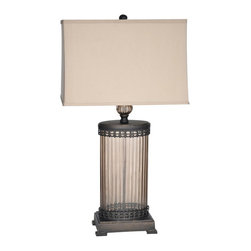 "Crestview - Crestview CVABS689 Mashala Table Lamp - Mashala Table Lamp Mashala Table Lamp 30""Ht.,Glass&Metal Bronze Glass Finish 11/16*12/17*11 Cream Linen Shade Table Lamp 30"" Ht"