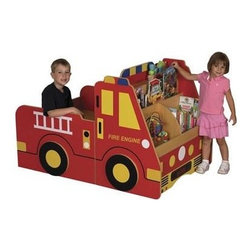 Fire Engine Book Storage Center - This cool fire engine book storage idea doubles as a play area. It's not cheap, but if you can afford it, it's super cute and the kids will love pretending to be firefighters.