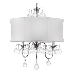 MODERN WHITE DRUM SHADE & CRYSTAL CEILING CHANDELIER PENDANT LIGHTING FIXTURE...