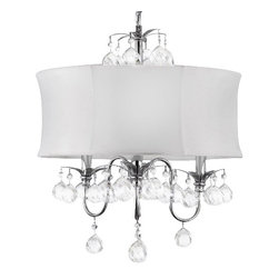 The Gallery - Modern White Drum Shade and Crystaleiling chandelier Pendant Lighting Fixture - 100% crystal chandelier. A Great European Tradition. Nothing is quite as elegant as the fine crystal chandeliers that gave sparkle to brilliant evenings at palaces and manor houses across Europe. This beautiful chandelier has 3 lights and is decorated and draped with 100% crystal that captures and reflects the light of the candle bulbs. This wonderful chandelier also comes with the large shade as shown. The timeless elegance of this chandelier is sure to lend a special atmosphere anywhere its placed! Assembly Required. Shade Included