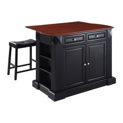 Crosley Furniture - Breakfast Bar Top Kitchen Island with Black S - Includes two stools. Drop leaf for additional space or dining. Sculpted edges on each end of top. Open storage with adjustable shelves on each end. Brushed nickel hardware. Gorgeous diamond accents and fluted pilasters. Two adjustable shelves behind doors. Stool with black upholstered seat. Warranty: 90 days. Made from solid hardwood and wood veneers. Black finish. Made in Vietnam. Stool height: 24 in.. Min: 48 in. W x 23 in. D x 36 in. H (196 lbs.). Max: 48 in. W x 35 in. D x 36 in. H (196 lbs.). Assembly instructions - Drop leaf Kitchen Island. Assembly instructions - StoolThis kitchen island is designed for longevity. The handsome raised panel doors and drawer fronts provide the ultimate in style to dress up any culinary space. Raise the drop leaf to expand your serving space, or just sit at the breakfast bar and eat your meal. Open storage on both ends provides easy access to frequently used items, and is perfect for displaying decorative objects. Style, function, and quality make this kitchen island a wise addition to your home.