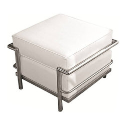 Fine Mod Imports - Cube Le Corbusier White Leather Ottoman - Features: