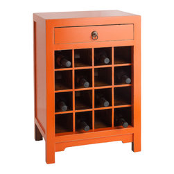Antique Revival - Orange Chauvet Wine Cabinet - This attractive Chauvet cabinet is the perfect way to store your wine collection in style. The geometric pattern of square cubbies provides room for 16 wine bottles, while the drawer above adds extra storage space for your favorite corkscrews and wine openers. The bright orange paint color adds a great splash of color to your kitchen or dining room. Item is newly made.