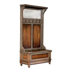 Uttermost - Riyo Distressed Hall Tree - Here's a must for your traditional entrance way. This handsome hall tree, honey stained and aged to perfection, has ample brass hooks and under-seat storage for all your family's gear.