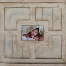MyBarnwoodFrames - 5x7 Antique White Beadboard Wood Picture Frame Devon - 5x7 Antique white beadboard wood picture frame with hand-glazed antiquing and a 7.5 inch wide frame. A prized possession in your nursery, rustic kitchen, or a child's bedroom. We know you're going to love the unique beadboard backing with a raised frame profile and deep cap edge. Exterior dimensions are 21.5 x 19.5  x 1.25. The exquisite detailing can turn even your smaller snapshots into beautiful portraits. Perfect for Cape Cod or Beach home decor styles.