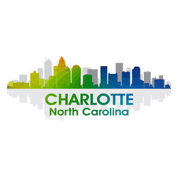 Charlotte NC Rainbow Spectrum Print - For a vibrant take on the Charlotte skyline, hang this prismatic digitally layered print on your wall. This brilliant design by Angelina Vick is a photographic masterpiece of civic pride.