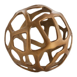 Kathy Kuo Home - Ennis Antique Brass Web Sphere Decorative Sculpture Object- Small - Crafted from a matte finish brass, and shaped into a delightfully modern sphere, this decorative piece of metal art would be right at home with the Saarinen's and the Eames's… or in any modern space, for that matter!