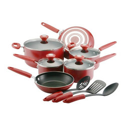 Silverstone - Silverstone Culinary Colors Series - 20807 - Shop for Cookware Sets from Hayneedle.com! Add some spice to your kitchen with the Silverstone Culinary Colors Series. All the cookware pieces in this complete set have a durable scratch-resistant non-stick surface anti-warp prism base for even heating and feature a sexy red porcelain exteriors with color-coordinating plastic handles. The pots pans skillets and lids are oven-safe to 350 degrees. This set includes four pots and pans with tempered glass lids two skillets and a set of three red-handled kitchen utensils.