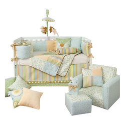 Glenna Jean - Finley Crib Bedding Set - For a boy or girl, the Finley Baby Crib Bedding Set by Glenna features clean pastels ranging from sky and butter to mint and cream.  Cotton prints include a softly looped scribble and a multi-color polka-dot.  Prints are hand-patched with lightly textured caramel velvet.  Pastel pom-pom trim finishes the crib ski