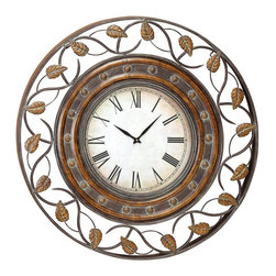 Aspire - 36 in. Decorative Iron Wall Clock - You are viewing a large, easy-to-read wall clock set in a beautiful iron frame. The frame features cast leaf patters over swirling iron designs. Metal. Color/Finish: Brown, green. Operates using one AA battery (not included). Clock face measures 16 inches. 36 in. H x 36 in. W x 2 in. D. Weight: 21 lbs.