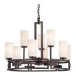 Designers Fountain - Transitional 9 Light Up Lighting Chandelier - The Del Ray collection features clean lines blend with curves of hand worked metal to create the Del Ray collection, embracing today's casual style, clean and elegant. Elongated glass silhouettes in an Ivory Pearl finish and Ivory fabric shades creates a warm and welcoming environment. A perfect blend of form and function.