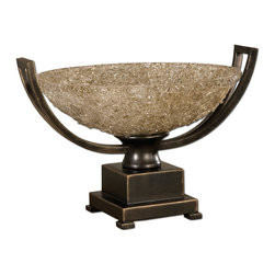 Uttermost - Uttermost Crystal Palace Decorative Centerpiece 19490 - Hand rubbed oil bronze patina with cracked refractive glass bowl.