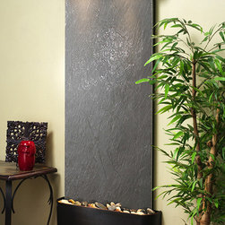 """The Inspiration Falls Wall Water Feature - Wall Fountains - Feel good about your purchase with a 100% money back guarantee. All of Water Feature Supply's wall fountains like the Inspiration Falls come with a one year warranty. As you might know, a great advantage to shopping online is the lower cost, with manufacturer pricing and free shipping. Water Feature Supply promises it will always pass the saving onto the consumer; the way it should be. To absolutely assure the lowest price we are proud to offer a price match guarantee on any competitor's price. Using the Inspiration Falls interior waterfall in your home or office will give the room a great relaxing feeling, and a life like """"at one with nature"""" atmosphere. You will enjoy the peaceful sound of water in constant motion. At the same time benefiting, the wall fountain is collecting dust particles while circulating and cleaning the air in the room. Constantly cleaning the air you breathe all day long while making a wonderful ambient sound. There is no better way to reduce stress and create tranquility than with a wall water feature."""