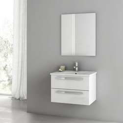 ACF - 24 Inch Customizable Bathroom Vanity Set - Manufactured in and imported from Italy by ACF, this upscale bath vanity will compliment contemporary & modern bathrooms. Mount it on your wall to save space. Available in grey oak, style oak, or glossy white and made in high-end engineered wood and mirrored glass and ceramic, this bathroom vanity is part of the ACF Dadila collection. Set Includes:. Vanity Cabinet (2 Drawers). High-end fitted ceramic sink. Wall mounted vanity mirror. Vanity Set Features . Vanity cabinet made of engineered wood. Cabinet features waterproof panels. Vanity cabinet in grey oak, style oak, glossy white finishes. Cabinet features 2 soft-closing drawers. Faucet not included. Perfect for modern bathrooms. Made and designed in Italy. Includes manufacturer 5 year warranty.