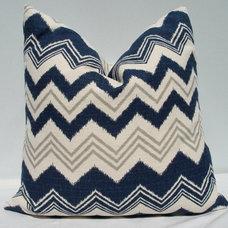 18 x 18 Indigo blue Grey and cream Ikat chevron by JolieChicago