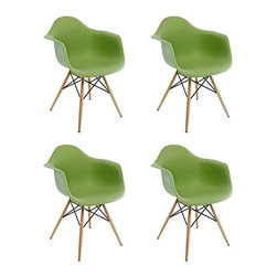 Ariel - Set of 4 Eames Style DAW Molded Lime Green Plastic Dining Armchair with Wood Eif - This set of 4 Eames Style DAW Molded Green Plastic Dining Armchair with Wood Eiffel Legs comes with four beautiful ergonomic arm chairs to easily provide extra seating for your family and guests. Sporting a clean, simple, retro, yet modern design sculpted to fit the body, this gorgeous armchair set is the perfect addition to the kitchen, patio, or deck. Available in multiple colors.
