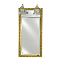 Afina - Afina Signature Traditional Lighted Single Door 20W x 30H in. Recessed Medicine - Shop for Bathroom Cabinets from Hayneedle.com! You can have it all with the Afina Signature Collection Traditional Integral Lighted Single Door 20W x 30H in. Recessed Medicine Cabinet. This medicine cabinet has a tasteful classic style lots of mirrors adjustable shelving and a beautiful light bar. The ornate frame comes in over 50 style and finish options each with a beveled exterior mirror that opens to reveal two mirrors inside as well as three adjustable glass shelves. This medicine cabinet is recessed into the wall to save space and includes two lovely light sconces above that offer just the right amount of light. About AfinaAfina Corporation is a manufacturer and importer of fine bath cabinetry lighting fixtures and decorative wall mirrors. Afina products are available in an extensive palette of colors and decorative styles to reflect the trends of a new millennium. Based in Paterson N.J. Afina is committed to providing fine products that will be an integral part of your unique bath environment.
