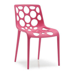 Calligaris - Hero Stackable Outdoor Chair in Raspberry (Se - Color: OrangePictured in Red. Perfect for bars. Stackable up to 4 chairs high. Suitable for outdoor use. A series of round holes on the whole surface give this a distinctive look. A technopolymer monoblock made using the Airmoulding process makes this an extremely sturdy, lightweight and easy to clean chair. Assembly required. Seat height: 17.375 in.. 18.375 in. W x 21.375 in. D x 31.375 in. H