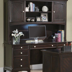 Coaster - Walnut Transitional Desk - The Garson home office group features storage drawers and file cabinets to keep you organized and productive. Finished in a rich cappuccino and brushed nickle drawer pulls. Drawers feature smooth drawer glides, hutch comes with task light and wire management.
