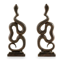 Heath Andirons - Set of 2 - At first glance, they appear to be andirons boasting symmetrical curvature that displays a distinctive old-world aesthetic, but a second glance reveals the beauty of the undulating serpentine forms. Cast in iron, the Heath Andirons impart sculptural splendor to your fireplace accessories and to your transitional decor. Available as a set of two.