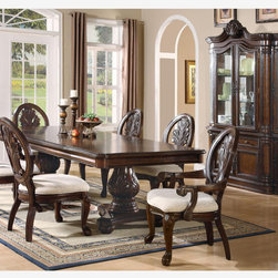 Coaster 7PC Formal Cherry Wood Pedestal Dining Set Leaf Table Chairs - This collection of elaborate carvings and careful detail brings forth the kind of beauty reserved only for the master dining room. China cabinet features touch lighting. Rich birch solids and veneers are set in a cherry finish. Leaf size of dining table adds 24 extra inches to accommodate family and friends.